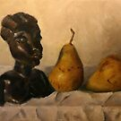 Still life with pears and African carving by Jeremy Wallace
