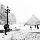 """Le Louvre in white"" (Paris) by Paul Ryan"