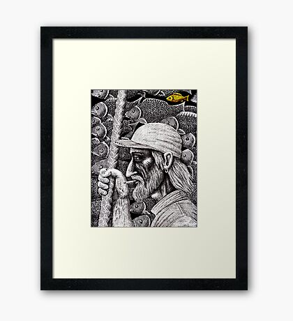 Old Fisherman surreal pen ink black and white drawing Framed Print