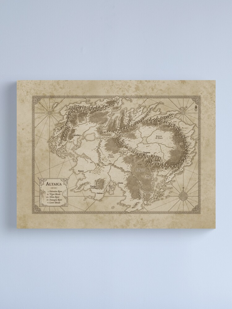 Alternate view of Altaica Fantasy Map Prints - Map for The Chronicles of Altaica (Artwork by Misty Beee) Canvas Print