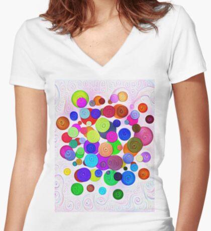 #DeepDream Color Circles Visual Areas 5x5K v1448388480 Fitted V-Neck T-Shirt