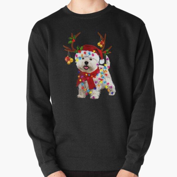 Santa westie dog gorgeous reindeer Light Christmas  Pullover Sweatshirt