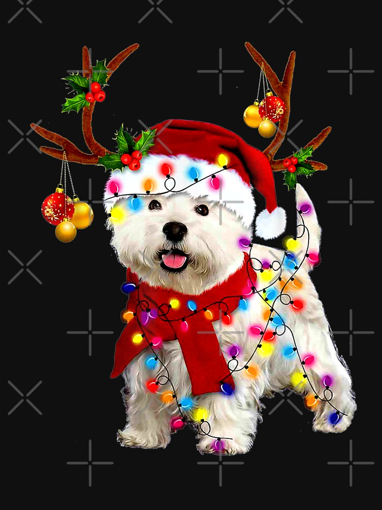 Santa westie dog gorgeous reindeer Light Christmas  by AlijaJanjic