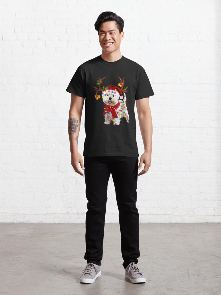 Alternate view of Santa westie dog gorgeous reindeer Light Christmas  Classic T-Shirt