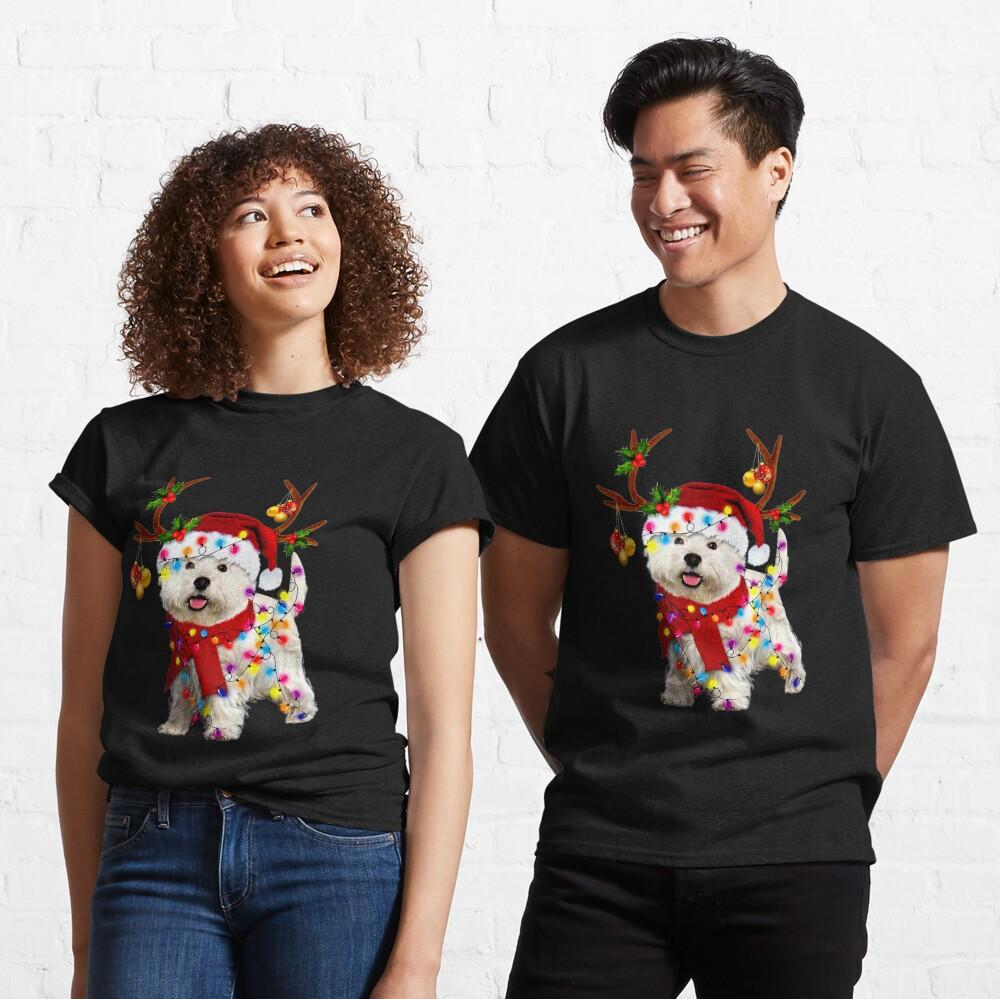Santa westie dog gorgeous reindeer Light Christmas  Classic T-Shirt