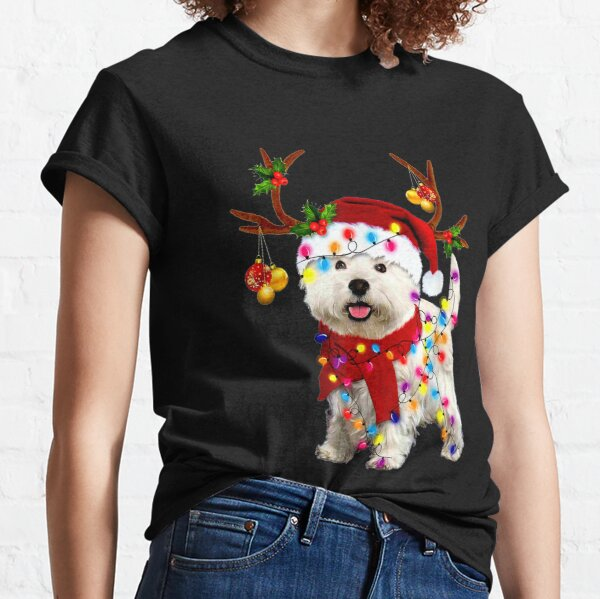 Santa westie dog gorgeous reindeer Light Christmas  Classic T-Shirt