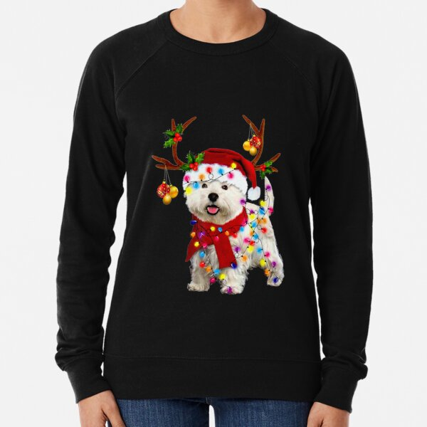 Santa westie dog gorgeous reindeer Light Christmas  Lightweight Sweatshirt