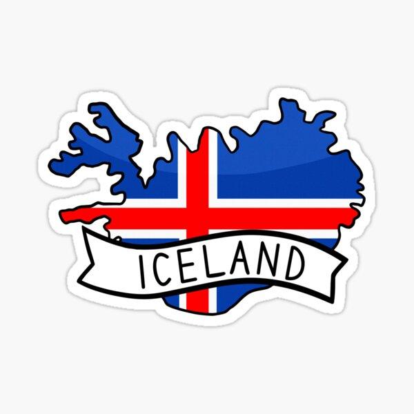 Iceland Flag Map Sticker Sticker
