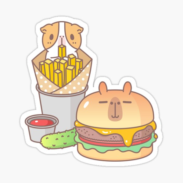 Guinea pig and Capybara Cheeseburger, Bubu and Moonch Sticker