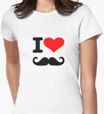 I love mustache Womens Fitted T-Shirt