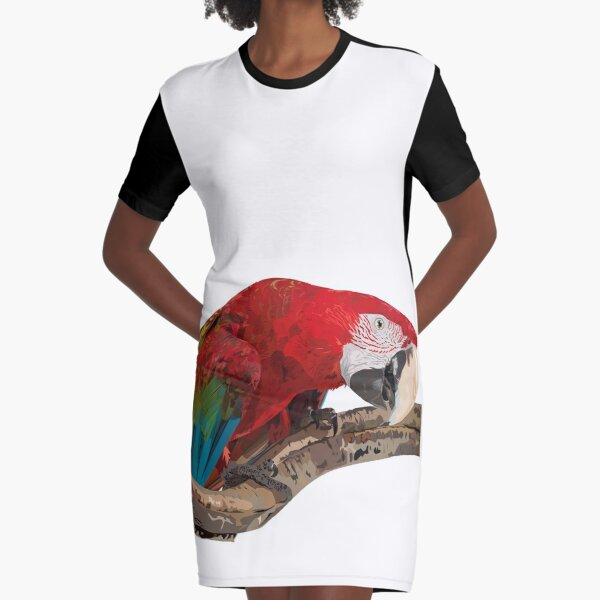 Red-and-green Macaw Graphic T-Shirt Dress