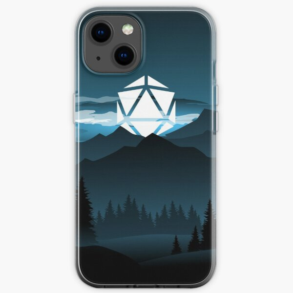 Mountain Full Moon D20 Dice Tabletop RPG Maps and Landscapes iPhone Soft Case