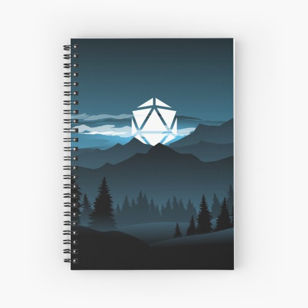 Mountain Full Moon D20 Dice Tabletop RPG Maps and Landscapes Spiral Notebook