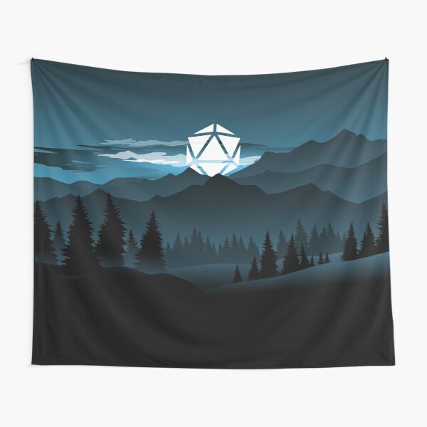 Mountain Full Moon D20 Dice Tabletop RPG Maps and Landscapes Tapestry