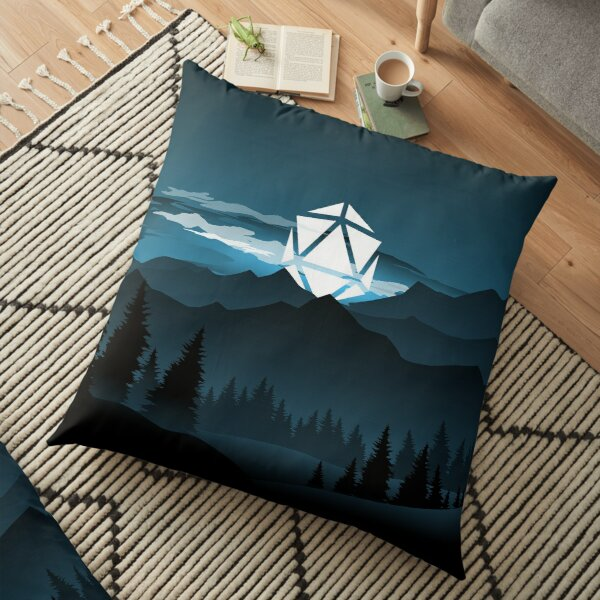 Mountain Full Moon D20 Dice Tabletop RPG Maps and Landscapes Floor Pillow