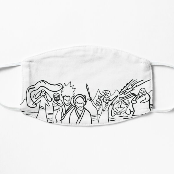 Sokka's Finale Drawing of the Avatar Gang Flat Mask