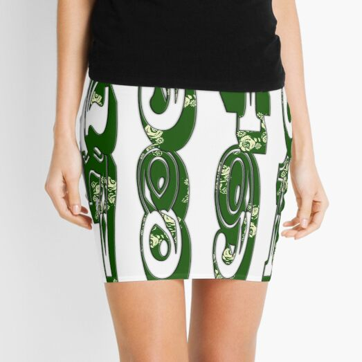 Green canal flowers numbers  Mini Skirt