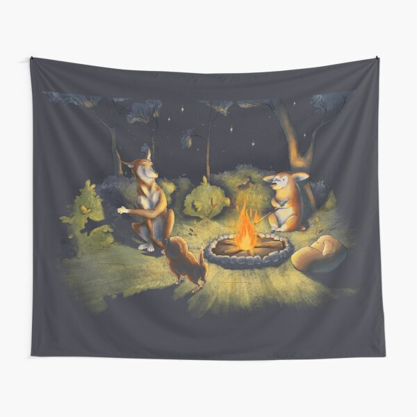 Bonfire night party. Camping dogs. Tapestry