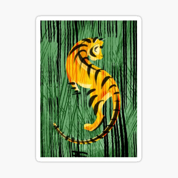 Tiger in the woods Sticker