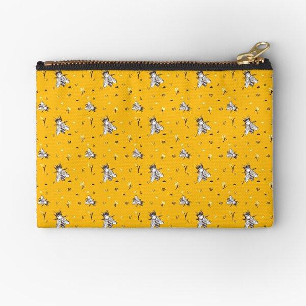 Golden Honeybee Pattern Zipper Pouch