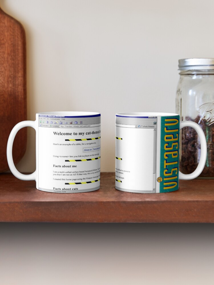 A mug with a screenshot of camel.case.t's home page on it
