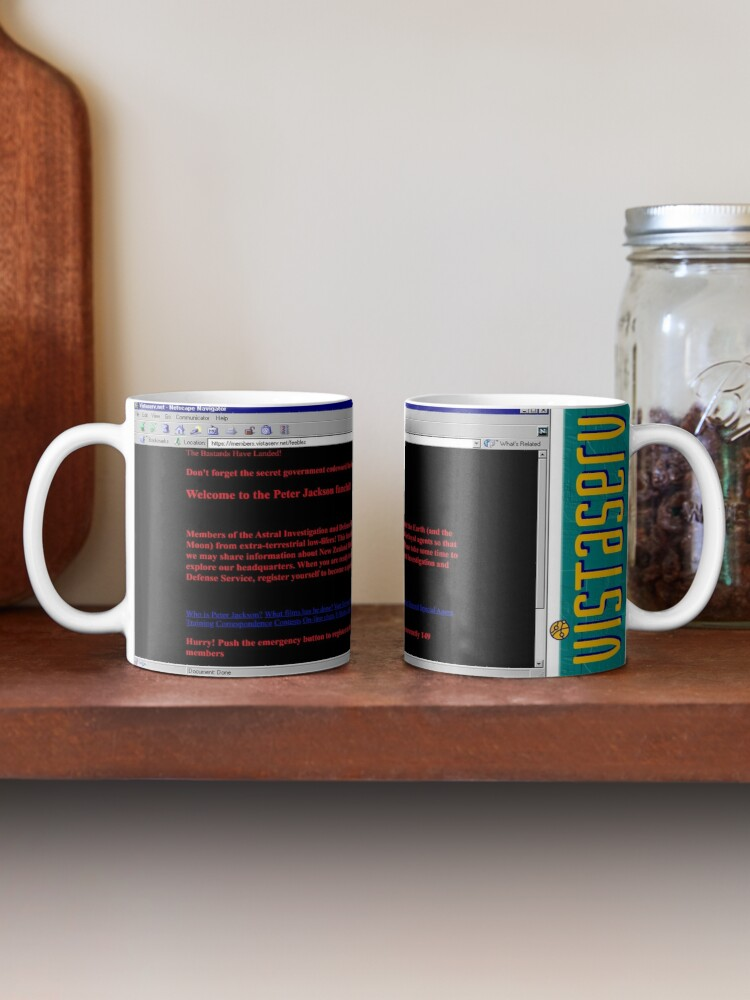 A mug with a screenshot of feebles's home page on it
