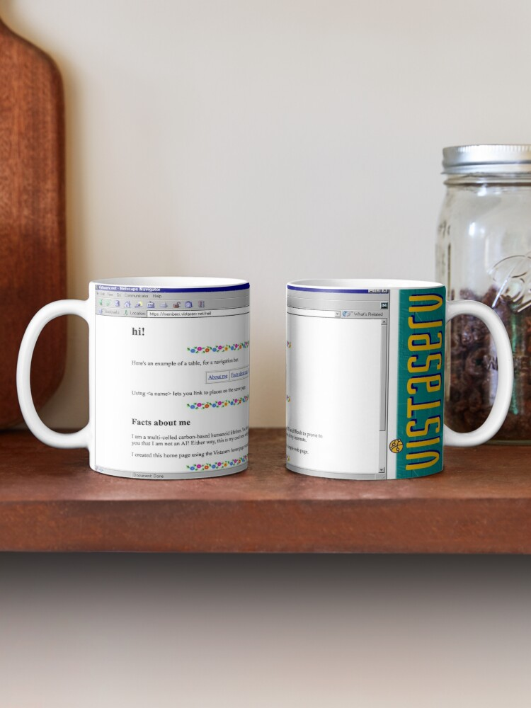 A mug with a screenshot of neil's home page on it