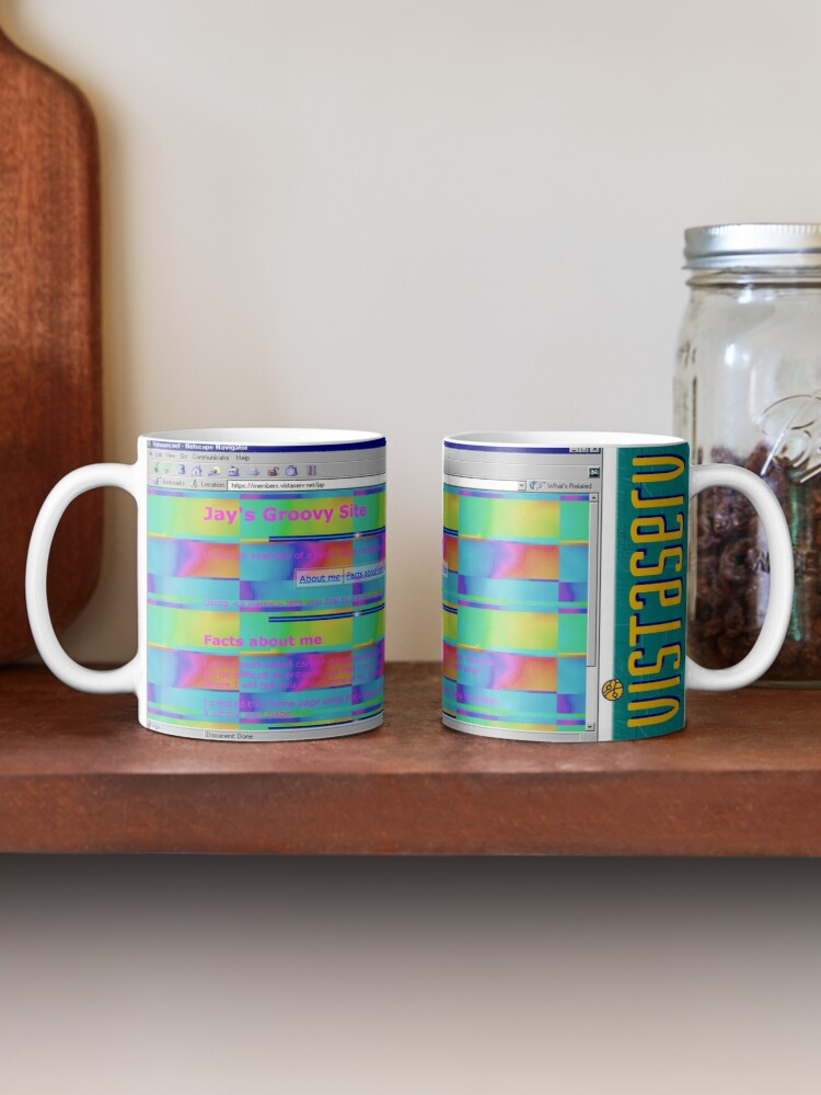 A mug with a screenshot of jay's home page on it