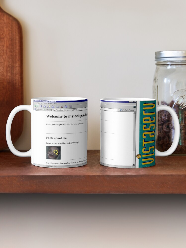 A mug with a screenshot of jigglebox's home page on it