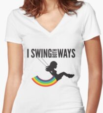 I Swing Both Ways Women's Fitted V-Neck T-Shirt