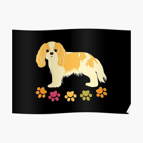 Cavalier King Charles Spaniel and Paw Print - Black Poster