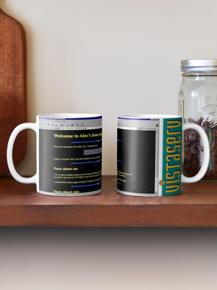 A mug with a screenshot of alex's home page on it