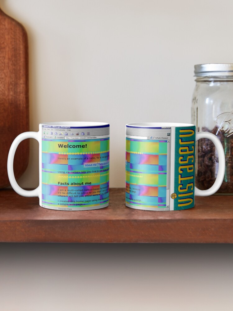 A mug with a screenshot of barnabee's home page on it