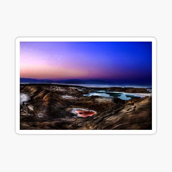 sink holes on the shore of the Dead Sea, Israel Sticker