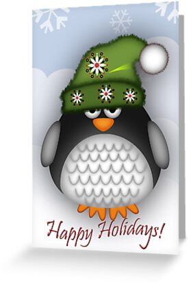 Happy Holidays Penguin by walstraasart