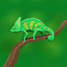Green Chameleon drawn on an iPad by Ray Cassel