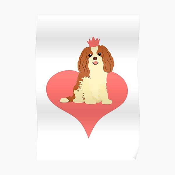 Love Cavalier King Charles Spaniel - Pink Poster