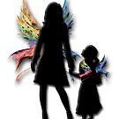 Mother and Daughter Faeries With Rainbow Wings by anankeblue