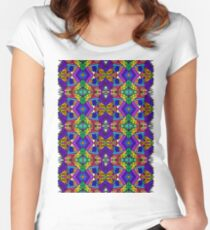 Colorful Psychedelic Pattern - Blue 1 Women's Fitted Scoop T-Shirt