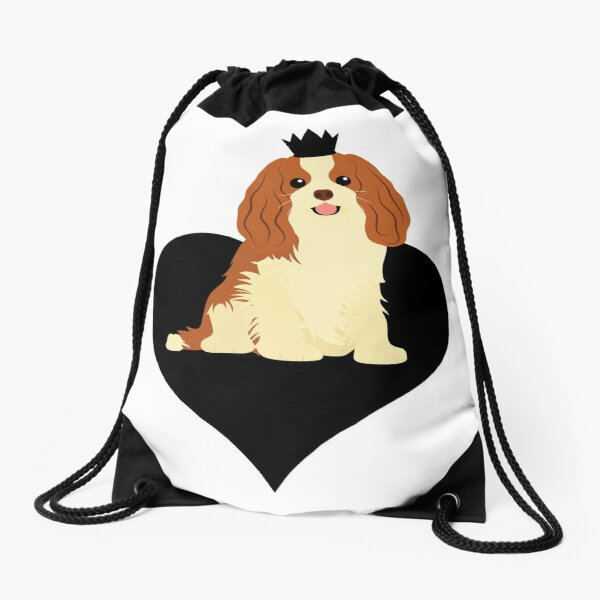 Love Cavalier King Charles Spaniel - Black Drawstring Bag