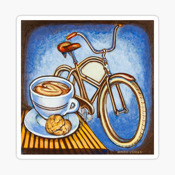 Brown Electra delivery bicycle coffee and amaretti Sticker