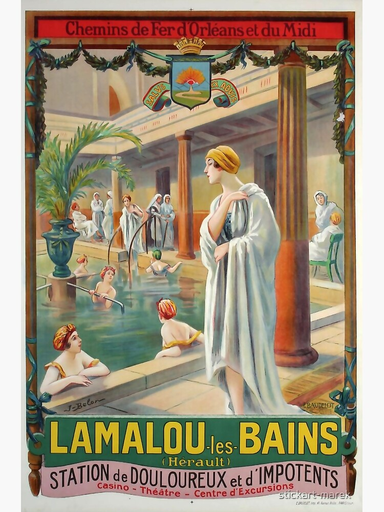 MIDI Lamalou les Bains vintage travel poster by stickart-marek