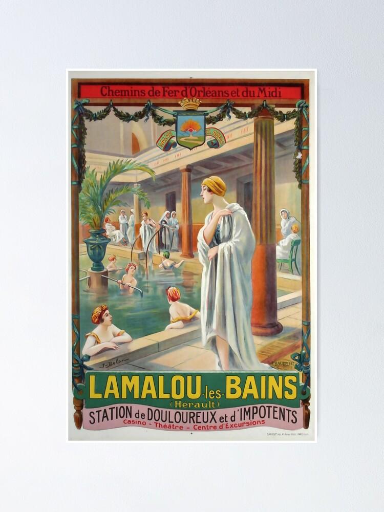 Alternate view of MIDI Lamalou les Bains vintage travel poster Poster