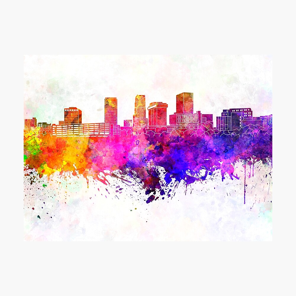 Akron Skyline In Watercolor Backgro Art Print Home Decor Wall Art Poster E