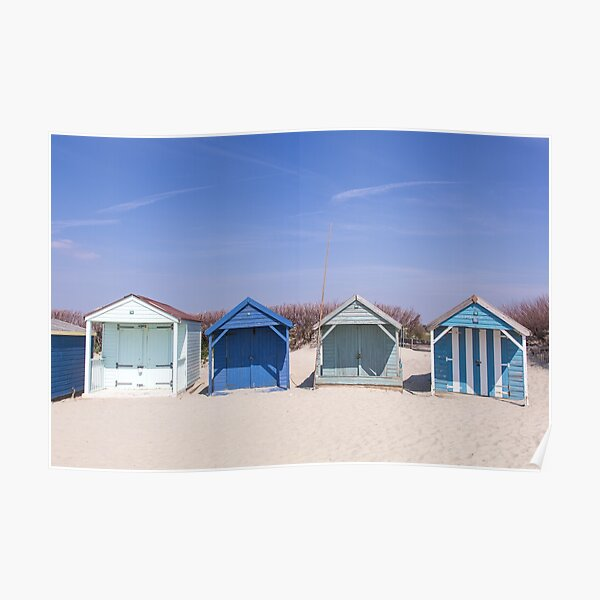Beach hut blues at West Wittering beach Poster
