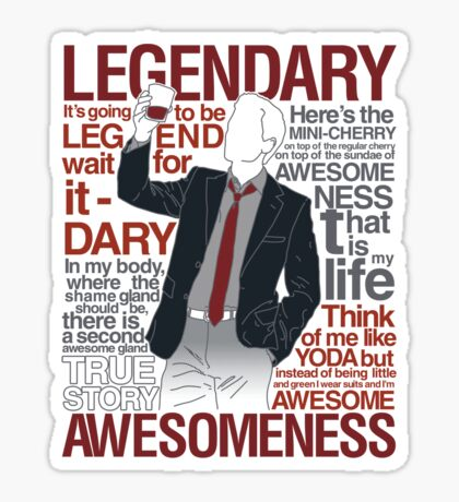 Barney Stinson - Legendary T-shirt of Awesomeness Sticker