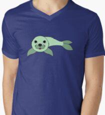 Light Green Baby Seal Men's V-Neck T-Shirt