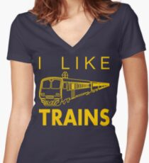I like trains Women's Fitted V-Neck T-Shirt