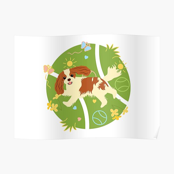 Playing Cavalier King Charles Spaniel - White Poster
