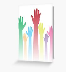 Colorful Raised Hands Greeting Card